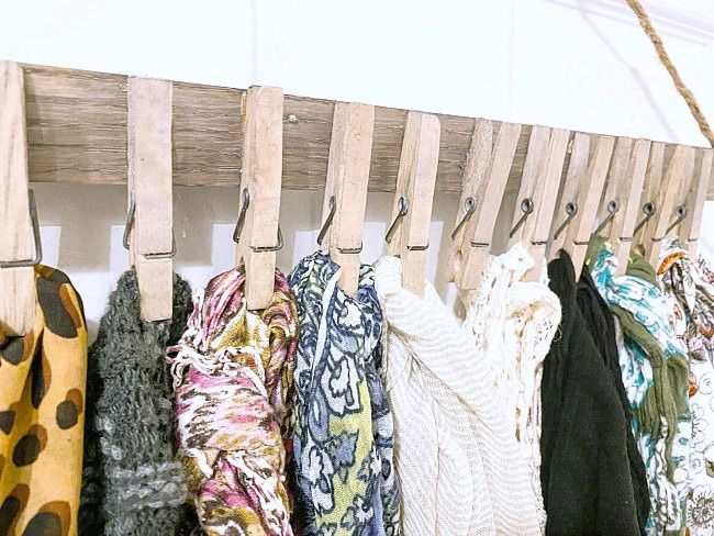Easy And Inexpensive Hanging Scarf Organizer In 2020 Scarf