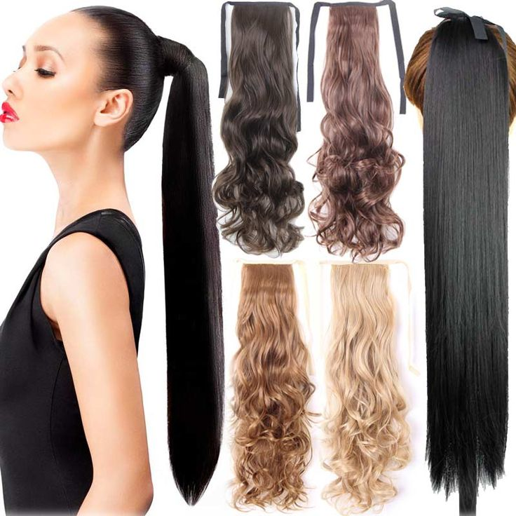 "Fake Hair Ponytail Long Straight Hair Pieces Synthetic Hair 105g 22"" Hairpiece Clip In Pony Tail Ponytail apply Multicolor"