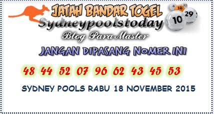 Sydney Pools Today Selasa 17 November 2015