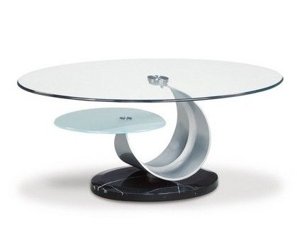 Modern Silver Black Glass Stone Marble Metal Coffee Table