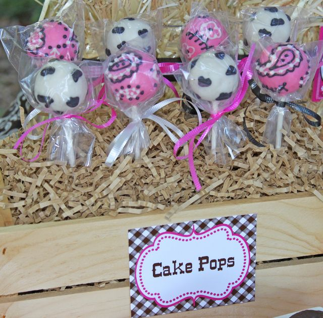 Cow and bandana cake pops from a Cowgirl Party #cowgirl #cakepops