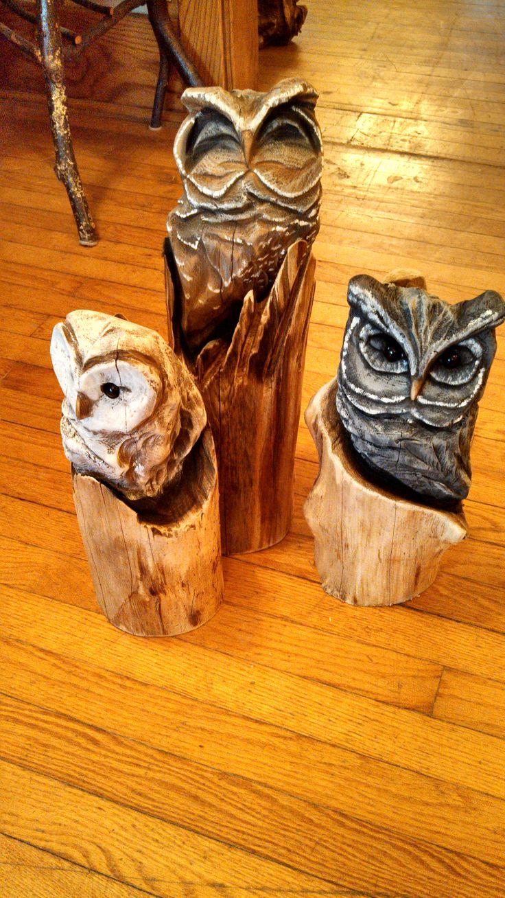 Little cedar owls carved by jon vincent