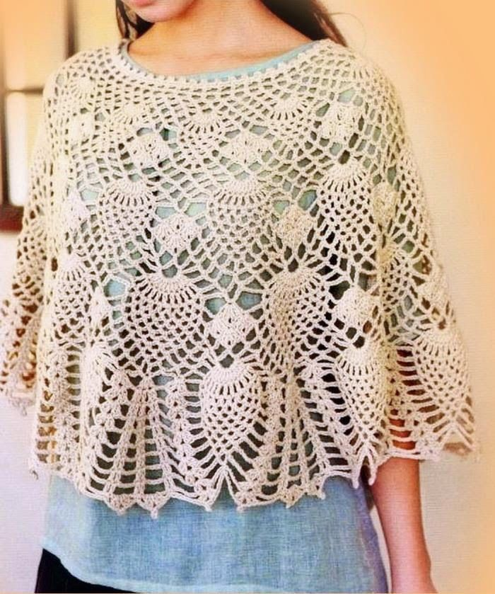 The clear pattern of this lace Poncho + 23 gorgeous crochet designs are in this wonderful magazine :