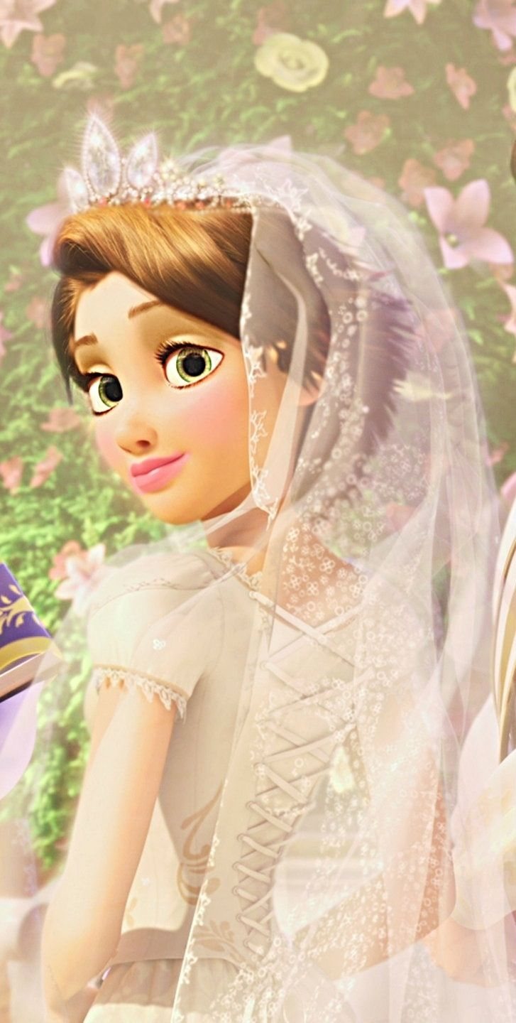 Disney Beautiful Stunning Train Rapunzel Bride Wedding Tangled Ever After