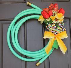 garden hose spring wreath, home decor