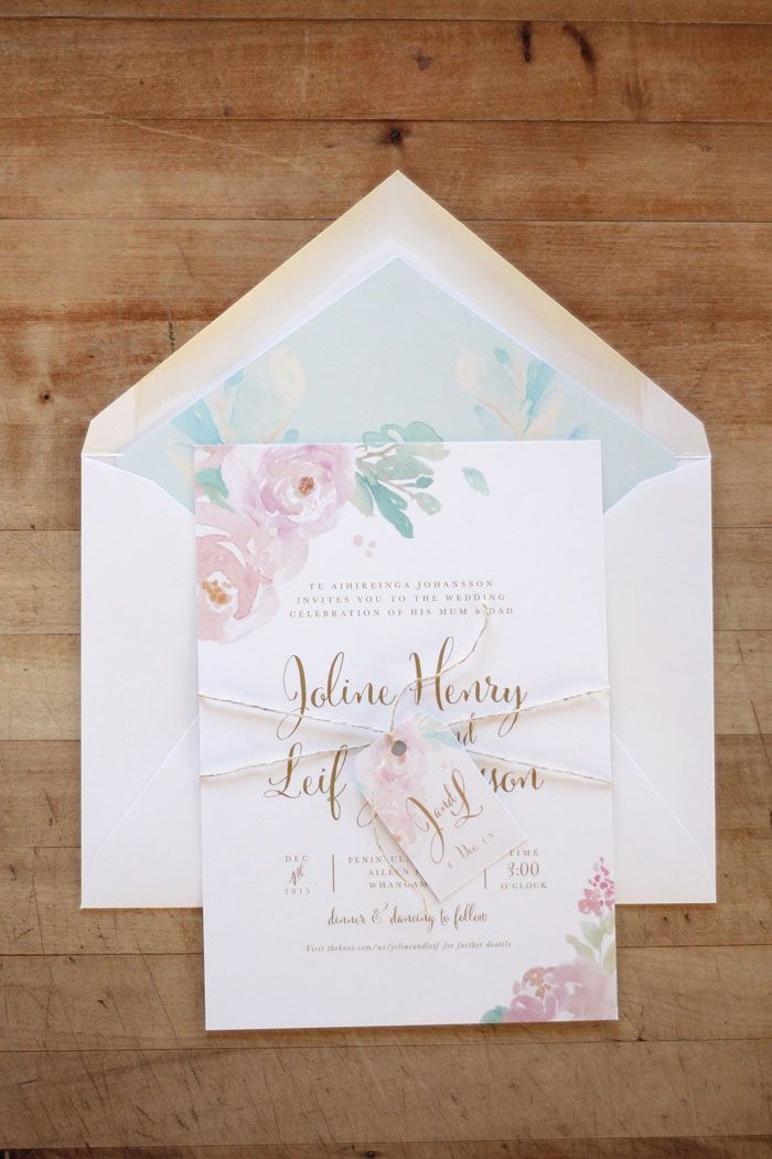 make your own wedding invitations online free%0A Just My Type Wedding Invitation  u     Wedding Stationery Design NZ Romantic  Pastel Watercolour Floral Silver Fern
