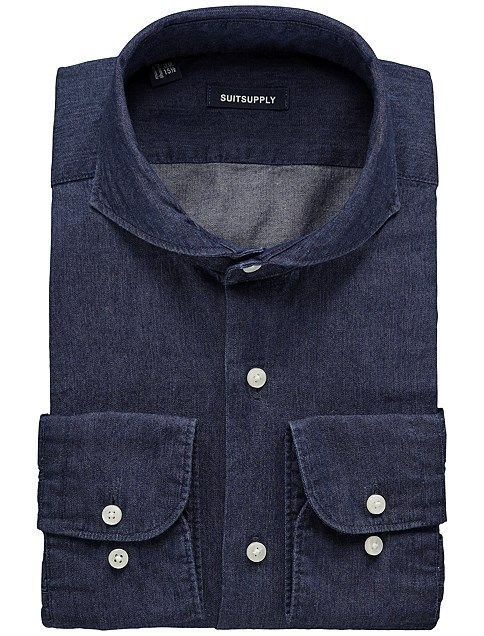 Deep Indigo Blue Washed Shirt
