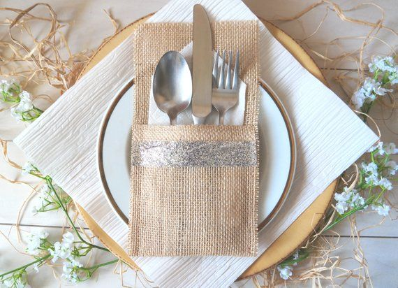 Rustic Burlap Silverware Holder Sparkly Silver Cutlery Pocket