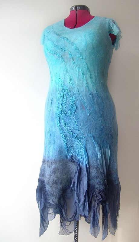 Nuno felted dress - Blue