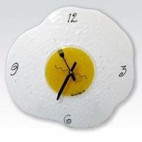 """FRIED EGG CLOCK12"""" diameter fused glass$250.00"""
