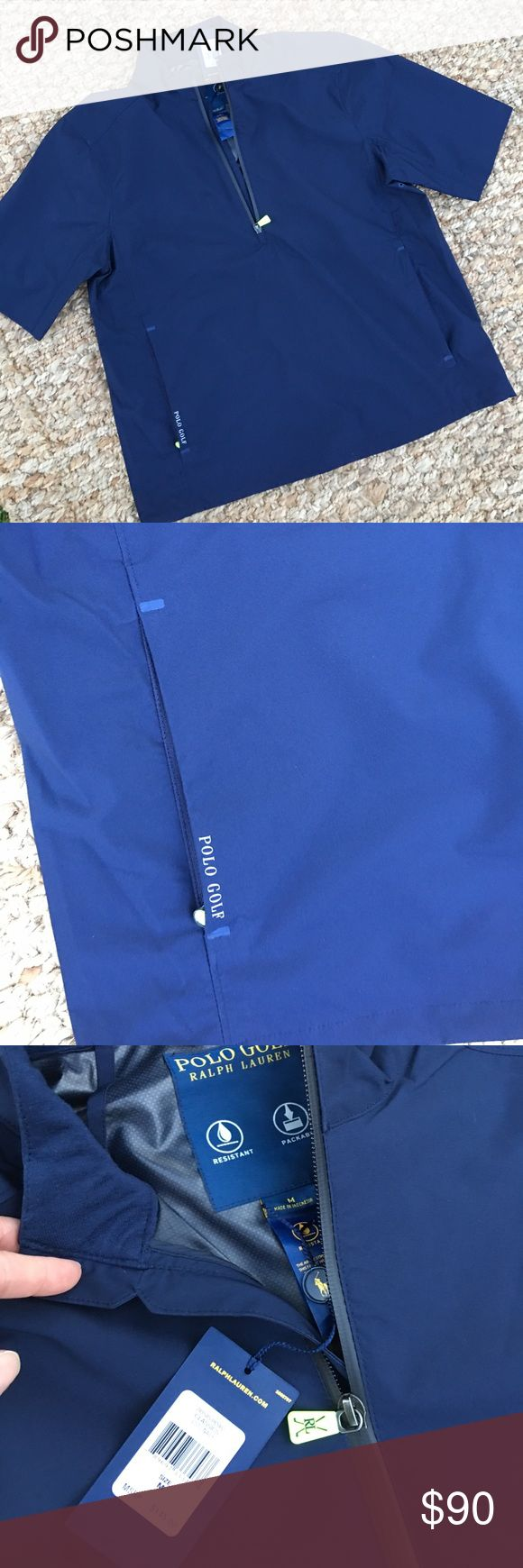 Polo Golf short sleeve wind shirt quarter zip NWT. Rain resistant, packable wind shirt. Stay dry but not as hot as a full sleeve jacket. Quarter zip and zip pockets. Polo by Ralph Lauren Jackets & Coats Performance Jackets