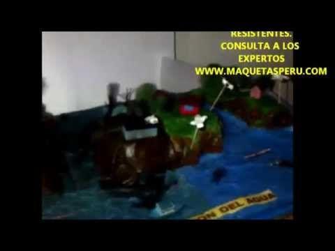 MAQUETAS ESCOLARES- COMO HACER MAQUETAS DE LA CONTAMINACIÓN DEL AGUA - YouTube