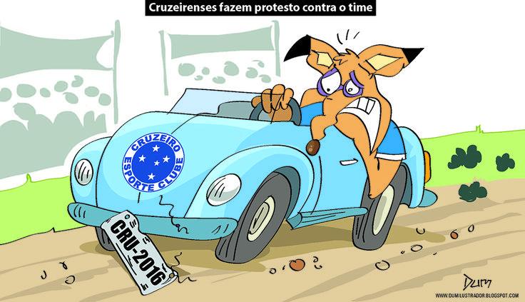 Charge do Dum (Zona do Agrião) sobre os protestos da torcida do Cruzeiro após resultados ruins no #Brasileirão (31/05/2016). #Charge #Dum #Cruzeiro #CampeonatoBrasileiro #HojeEmDia