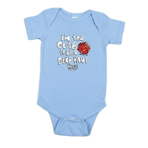 Johnny T-shirt - #5890 Infant Too Cute to Be a Duke Fan Onesie by Smack Apparel