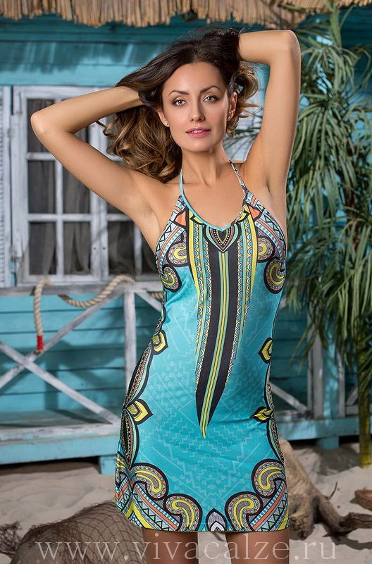 19070 Пляжное платье Коллекция JASMINE. Эффектное короткое пляжное платье Mia-Mia из эластичного трикотажа с оригинальным принтом. Бретели завязываются на шеи.