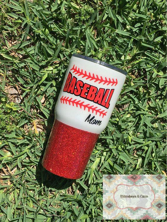 Baseball mom yeti, Baseball tumbler, Baseball cup, Glitter Yeti, Glitter RTIC, Glitter Oxark, 30 oz, 20 oz, Glitter dipped, Stainless steel