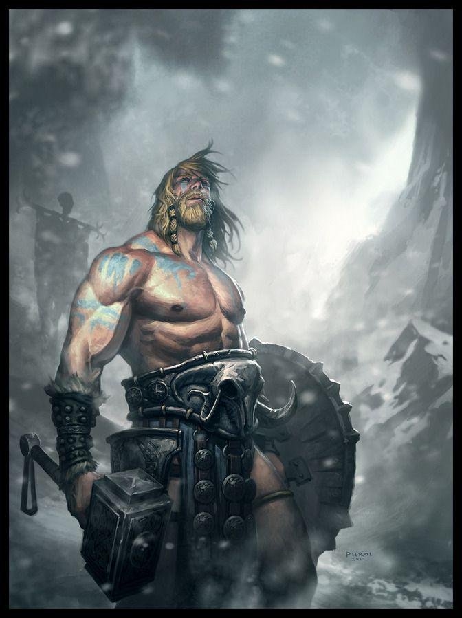 *Oryn Darrktan, human, nord. Snow barbarian, berseker. War hammer speciallist.