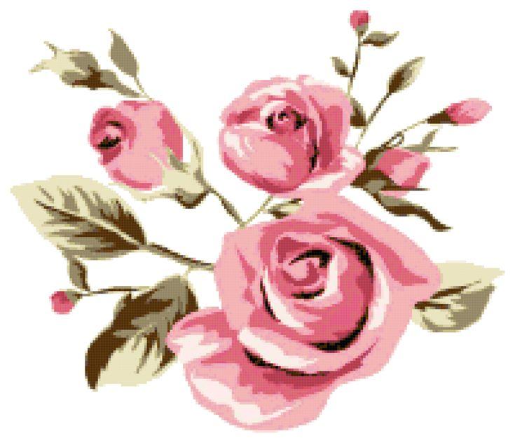 Pink roses. Free cross stitch pattern
