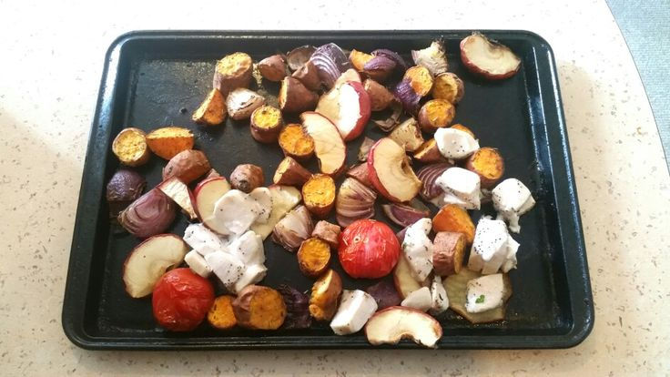 Easy baking.... .Apple, wild cherry tomatoes,  chicken breast, red onions, sweet potatoes