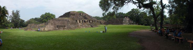 A panorama view of Tazumal, the Mayan ruins in Chalchuapa, El Salvador.