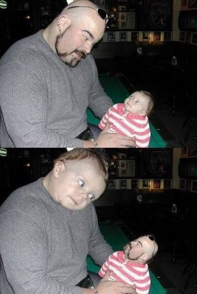 20+ Hilarious Photos of Guys Swapping Faces With Babies