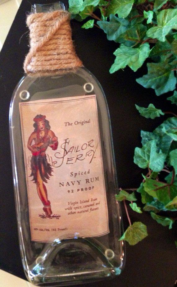 Sailor jerry melted bottle tray slumped bottle cheese board liquor on etsy bottles - How do you melt glass bottles ...