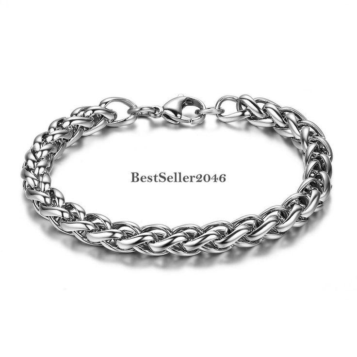 Panzerkette Herren Damen Edelstahl Armband Armkette Silber Armschmuck 23 cm