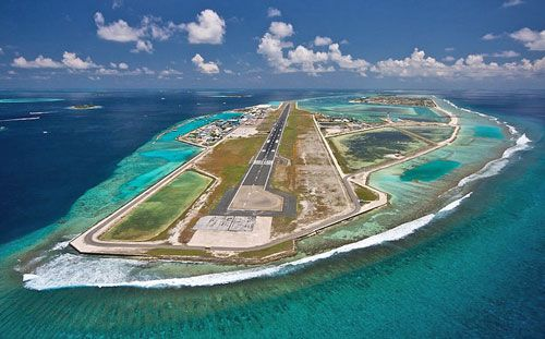 Maldives Airport is located on an artifical island in the middle of the Indian Ocean!!