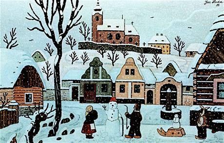 Josef Lada Vanocni Obrazky | Josef Lada - Děti se sněhulákem 1951, soukromá sbírka