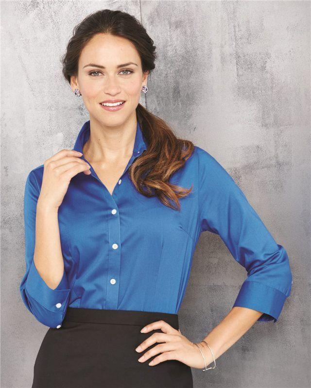 900e49a1dc8 Van Heusen Women s Three-Quarter Sleeve Baby Twill Shirt 13V0527 S-2XL Size  SALE