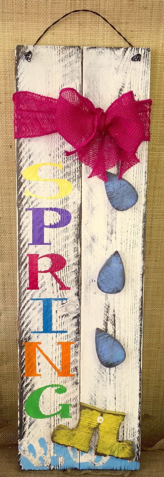 "Spring Raindrops and Galoshes » Handmade & Painted, Distressed Western Red Cedar ""Pallet"" Wood Sign"