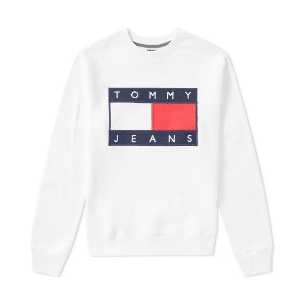Tommy Jeans 90s Sweat ❤ liked on Polyvore featuring tops, hoodies, sweatshirts, tommy hilfiger top, white sweatshirt, tommy hilfiger sweatshirt, tommy hilfiger and white tops