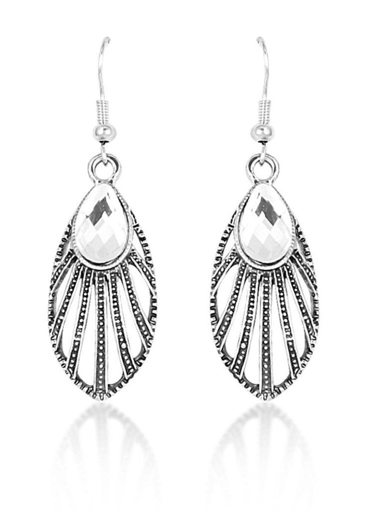Antique Silver Ecliptical Earrings for women