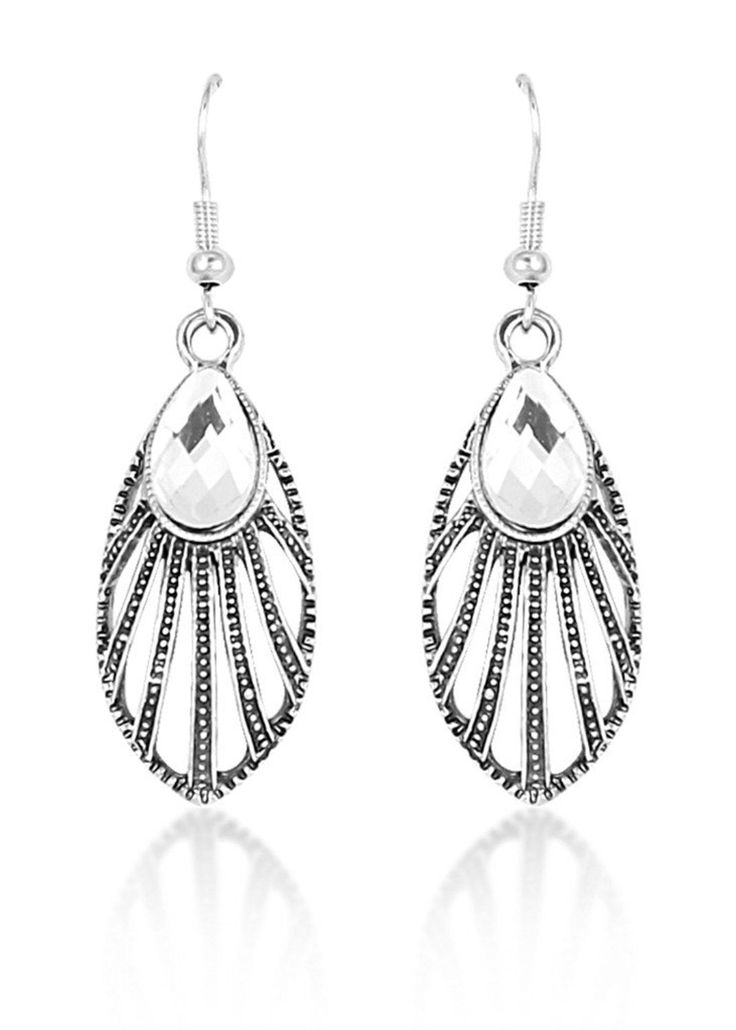Antique Silver Ecliptical Earrings for women