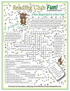 Learn about New Year's resolutions and many ideas for resolutions with this Crossword Puzzle -- maybe make a resolution of your own!