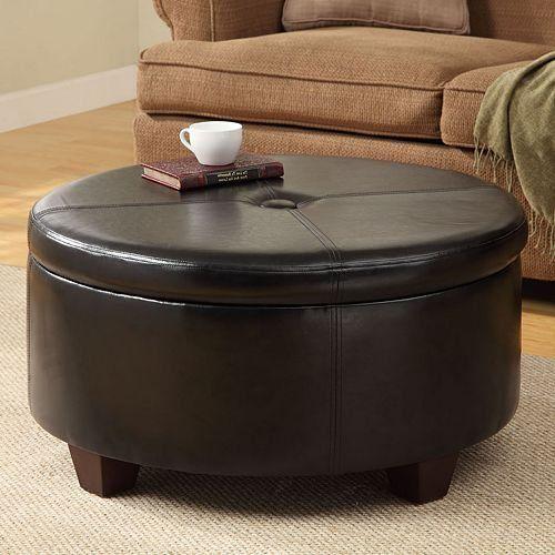 Winston large round storage ottoman kinfine http www Round storage ottoman