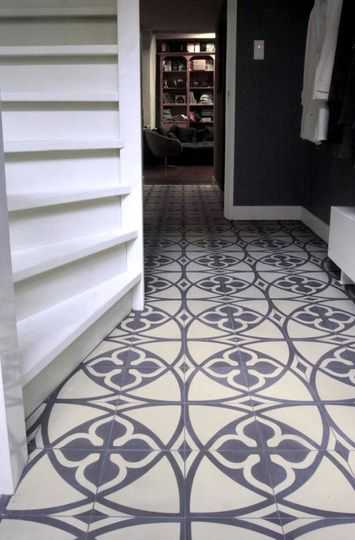 love the grey, big bold pattern of these cement tiles... (via re-nest)