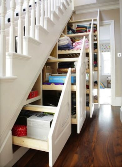 Staircases take up a lot of room. Where square footage is precious, use custom-fit cabinets, drawers and closets with clever pullout drawers to make full use of the under-stairs space.