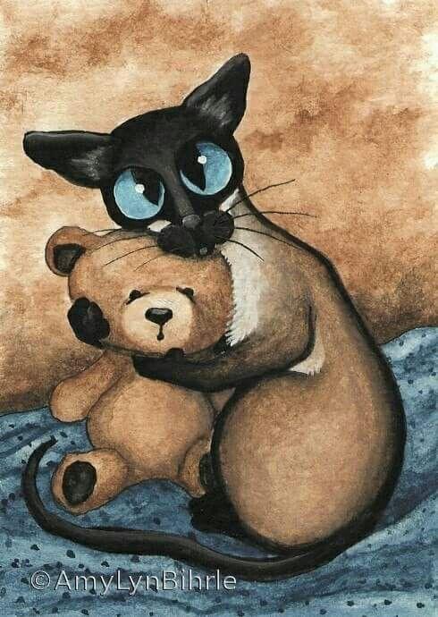картинки котиков и мишек жена