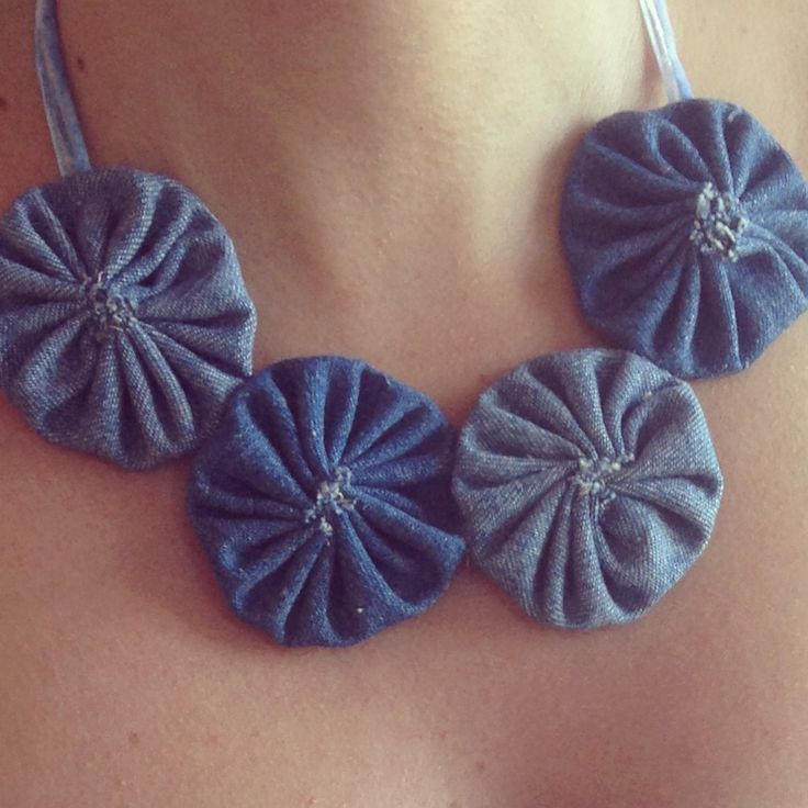 My Fabric Of Life| Chloe's bouquet, Statement Fabric necklace, denim fabric #myfabricoflife #statement #necklace #fabric #DIY