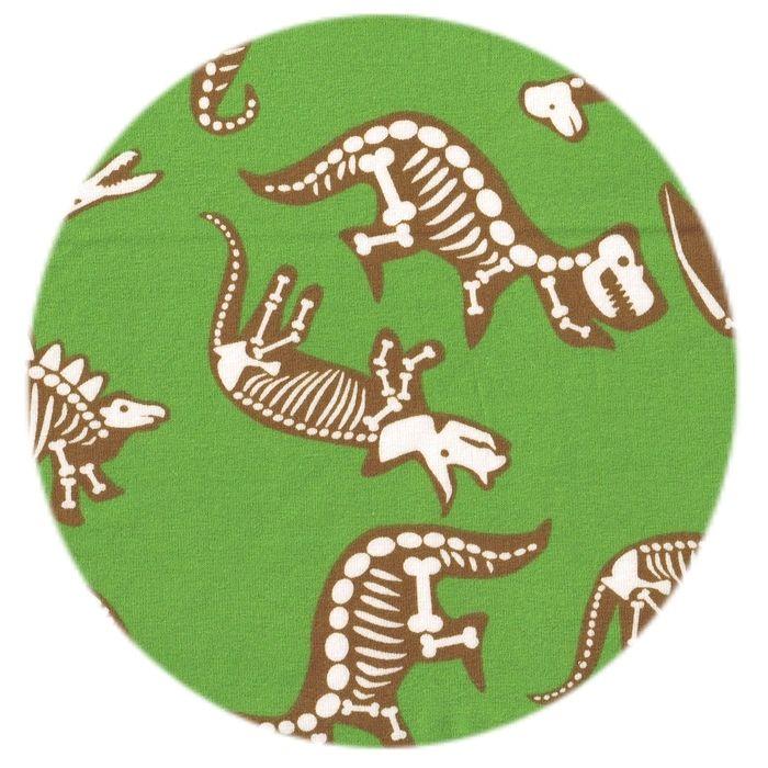 Økologisk jersey stof med dinosaurer skeletter