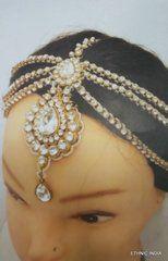 MATHAPATTI DAMINI GOLD CRYSTAL BEADS MAANG TIKA HAIR ACCESSORY