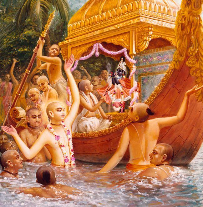 Bhakti Art | Spiritual Krsna Art & ISKCON Paintings & Giclee by Syamarani Dasi (Jadurani dasi) | Krishna Art | Lord Caitanya´s Boat Pastimes
