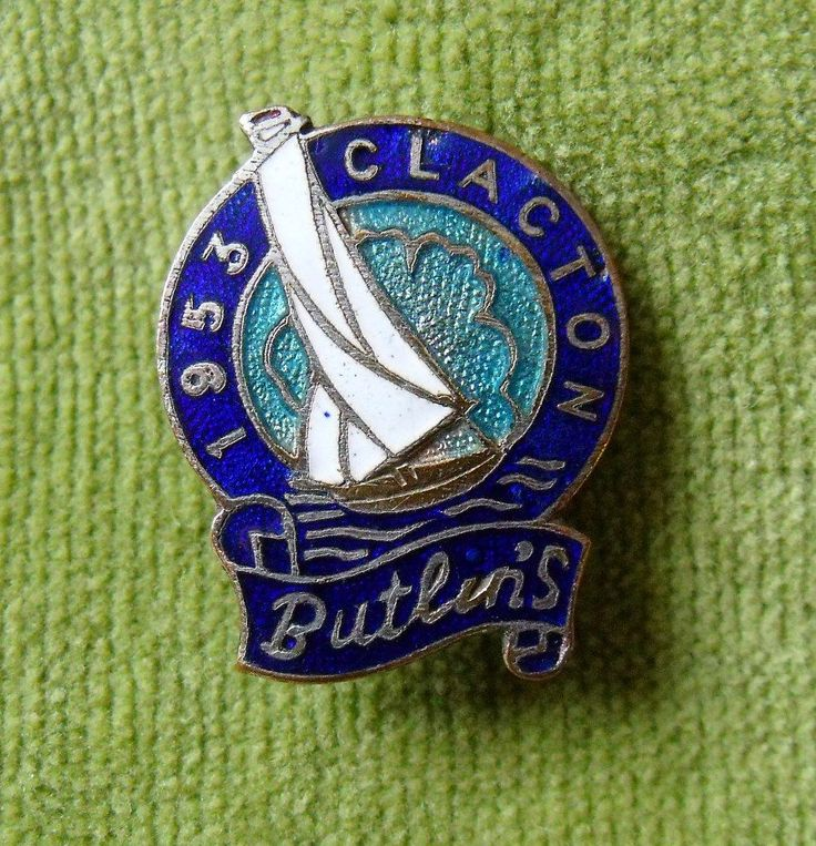 A Genuine Butlins Metal Enamel Clacton 1953 Pin Badge 2cm across metal and enamel in a good general condition with a few nibbles to the enamel around