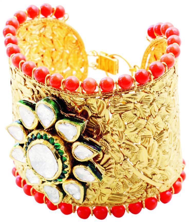 Gold cuff by Falguni Mehta