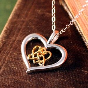 67 best celtic and irish jewelry images on pinterest irish our celtic lovers knot heart in two silver and gold is brilliant the unbroken lines aloadofball Image collections