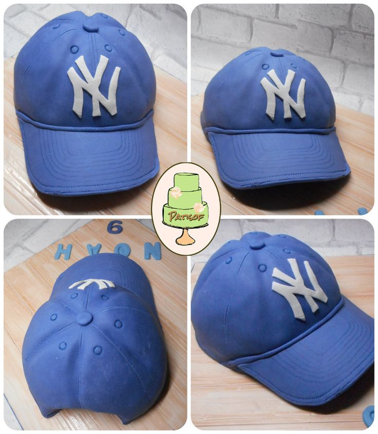 Gâteau Baseball, spécial Yankees ! (Yankees cap fondant cake y Patisof)