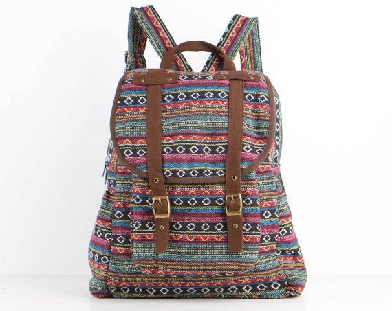 Rainbow Hippie Backpack Daycare Bag Student/ Travel/ by TaTonYon