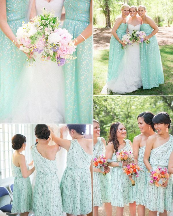 mint bridesmaid dresses with patterns for wedding 2014
