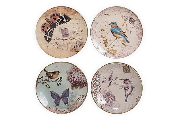 Butterfly & Bird Glass Plates....love these!